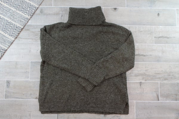 Raw Edge Turtleneck Sweater