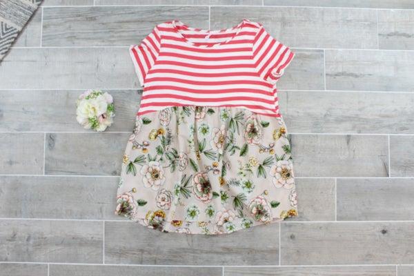 Stripes Meet Floral Babydoll Top