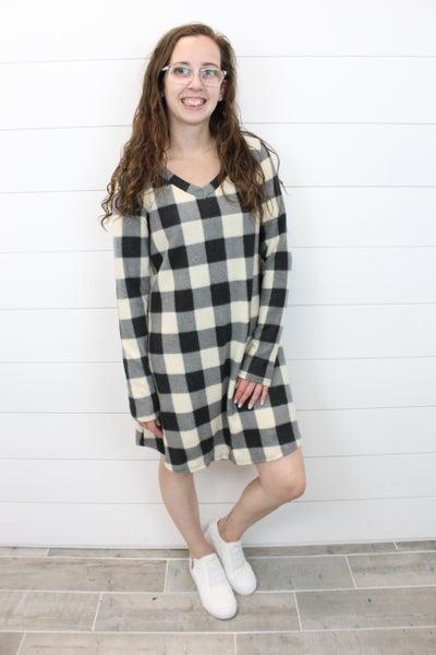 Long Sleeve V-Neck Plaid Dress