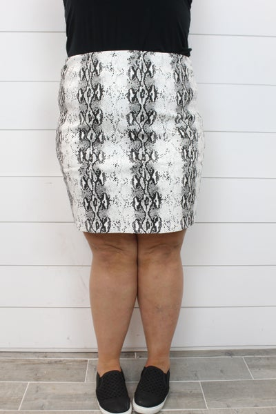 White Snake Mini Skirt