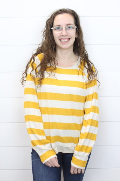 Striped Long Sleeve Soft Top