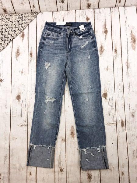 Judy Blue Destroyed Hem Cuffed Straight Jeans