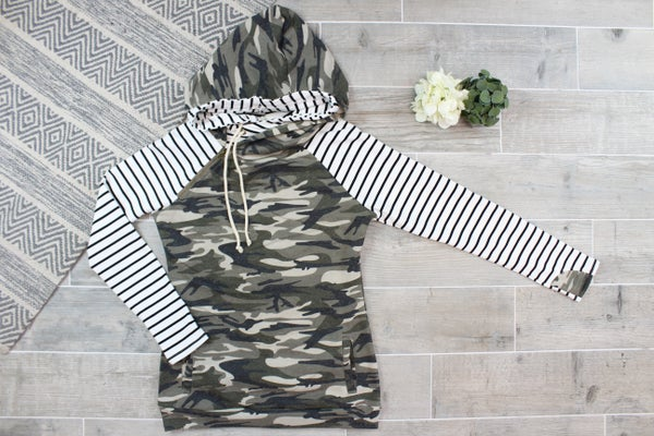 Side String Camo Double Trouble Hoodie