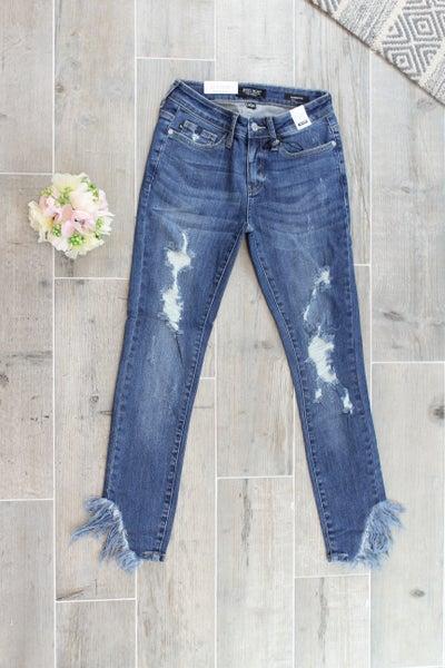 Asymmetric Frayed Hem Skinny Judy Blue Jean