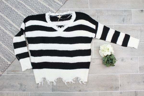 Distressed Hem Striped Sweater