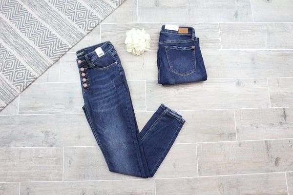 Judy Blue Five Button Dark Wash Skinny Jeans