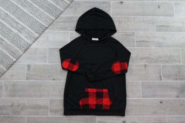 Partially Plaid Hoodie