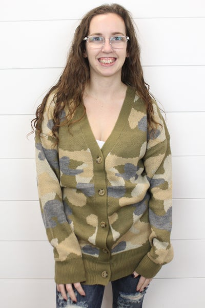 Button Up Camo Cardigan