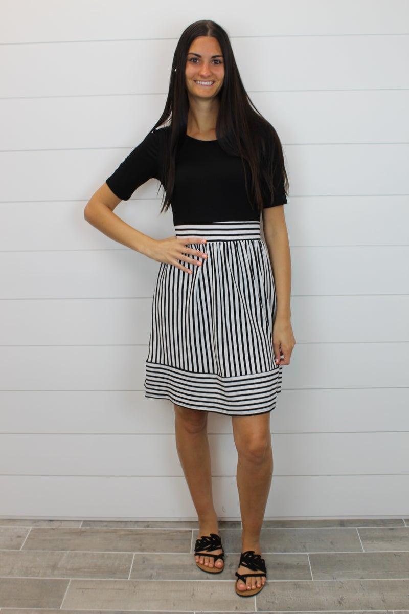 Striped Bottom Mini Dress