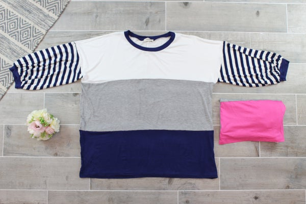 Color Block 3/4 Striped Sleeve Top