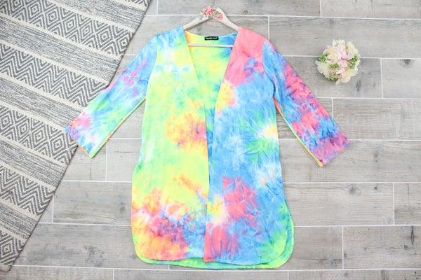 Neon Tie Dye Cardigan