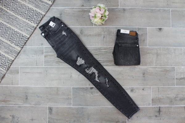 Mid Rise Destroyed Skinny Jeans
