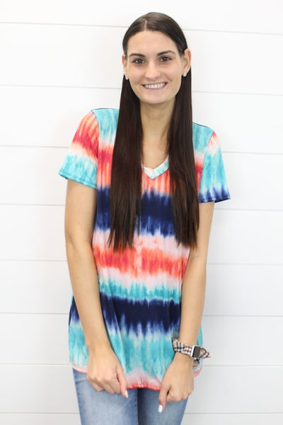 A Tie Dye Top With A V-Neck