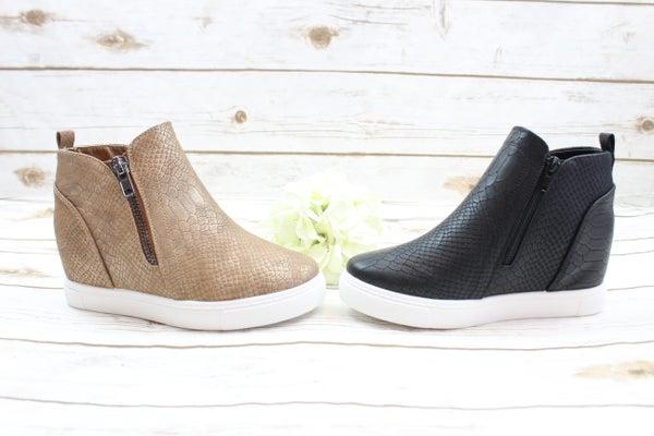 Croc Print Zip Up Sneakers