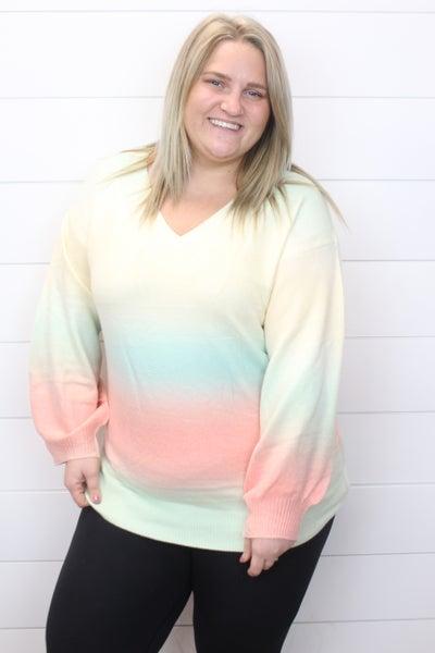 Sherbert Days V Neck Sweater