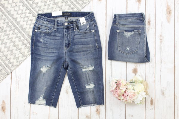 Destroy Cutoff Judy Blue Bermuda Shorts