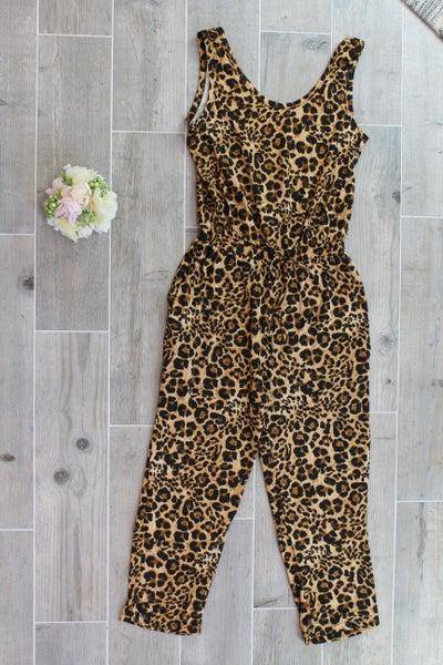 Sleeveless Leopard Jumpsuit