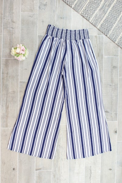 Striped Smocked Waist Pants