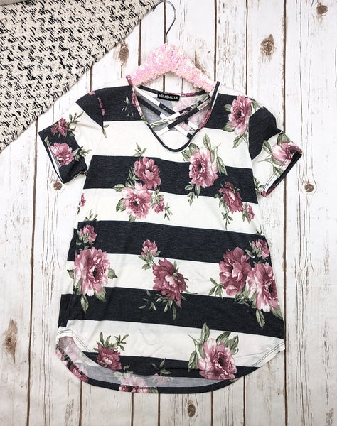 Floral & Stripes Criss Cross Top