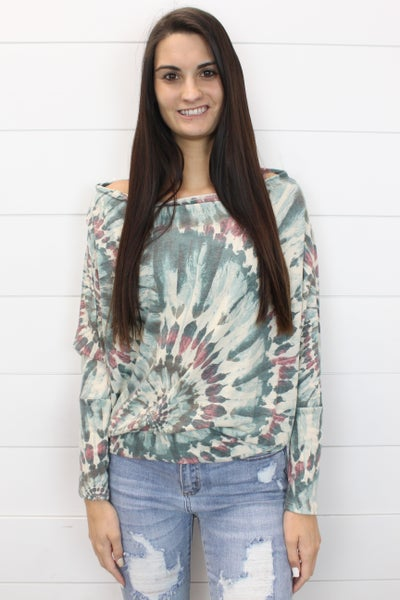 Spiral Tie Dye Off The Shoulder Top