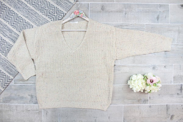 V-neck Speckle Sweater