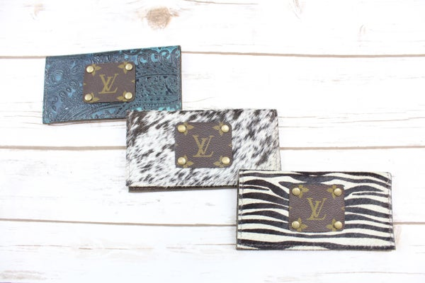 Upcycled LV Checkbook Holders