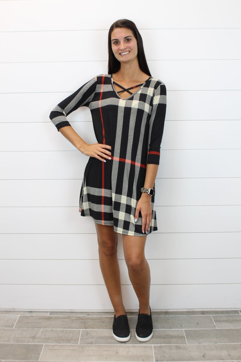 Criss Cross Plaid Dress