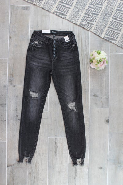 Black Button Fly Skinny Jean