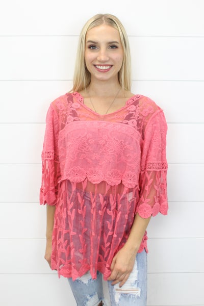 Scalloped Lace Tunic Top