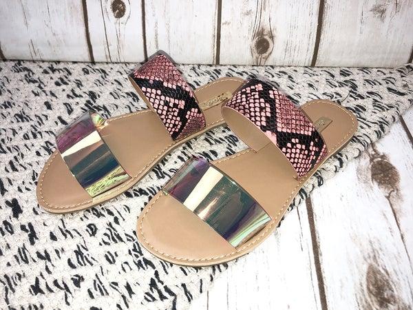 Iridescent Strappy Sandals