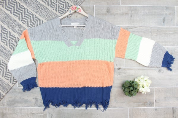 Raw Hem Striped Sweater