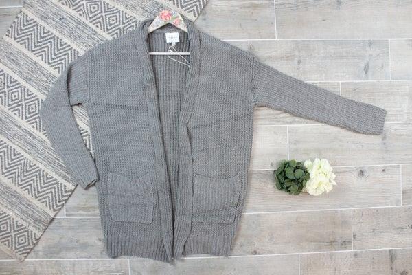 Waffle Knit Sweater Cardi
