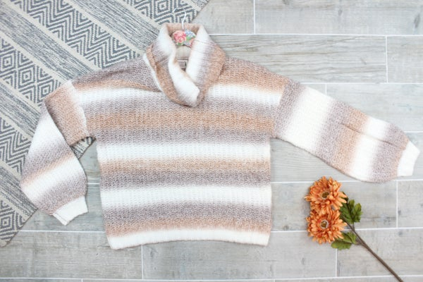 Mocha Striped Turtleneck Sweater