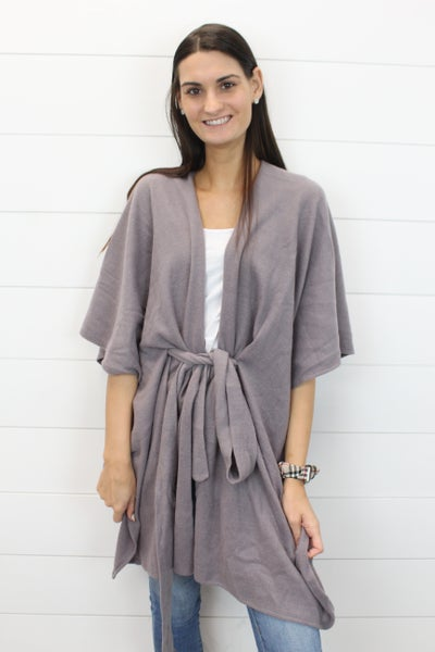 3/4 Sleeve Cardi With Tie Front