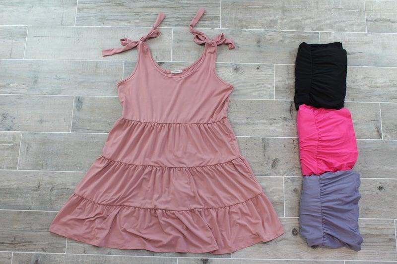 Shoulder-Tie Tiered Babydoll Dress