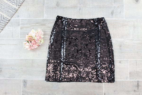 Black Sequin Holiday Skirt