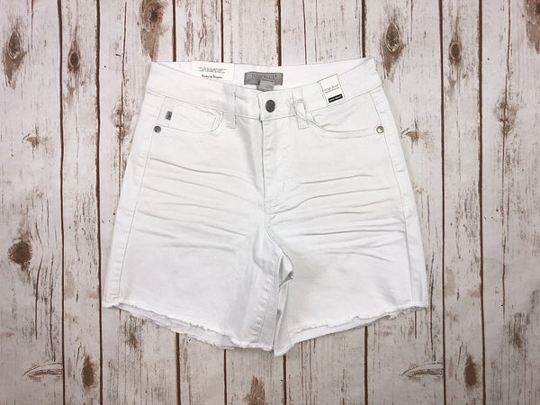 White Mid-Thigh Cut Off Judy Blue Shorts