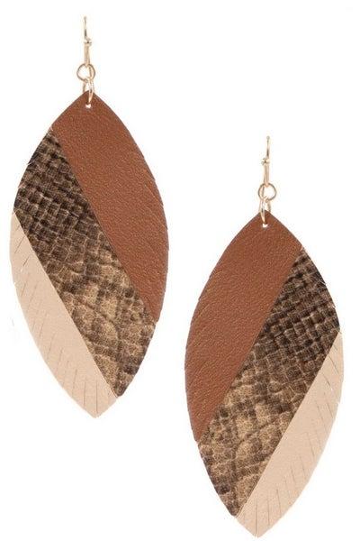 Snakeskin Leaf Earrings