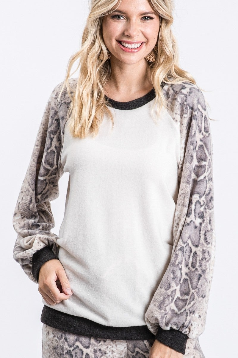 Animal Print Bubble Sleeve Top
