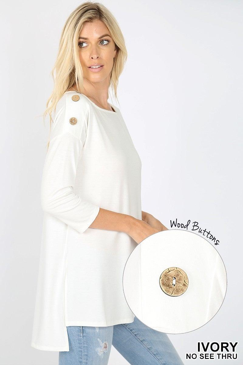 Zenana Button Shoulder Top