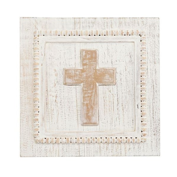 White Destressed Cross Plaque