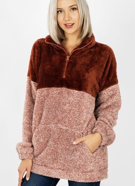 Zenana Two Tone Half Zip Pullover
