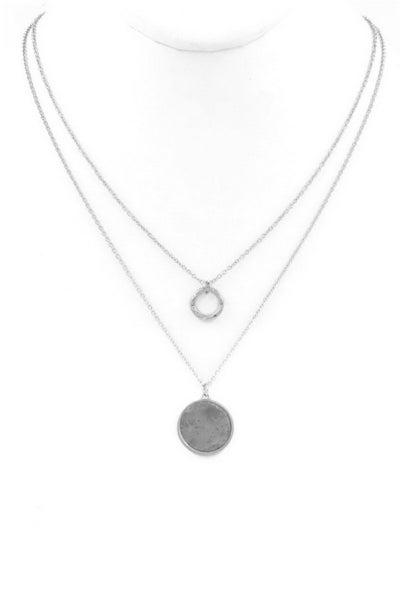 Stone Pendant Layered Necklace