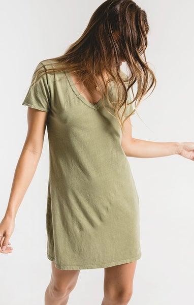 Z-Supply Light Sage Cotton T-Shirt Dress