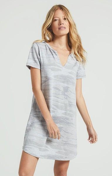 Z-Supply Heather Gray Camo Split Neck Dress