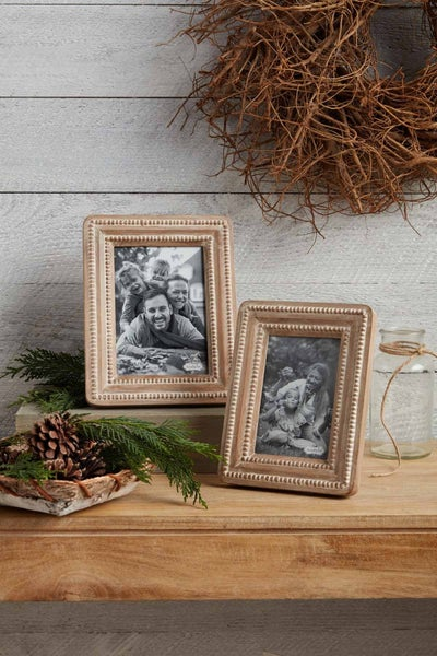 Mud Pie Beaded Reclaimed Wood Frame