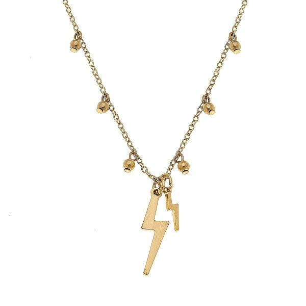 Juliette Thunderbolt Necklace In Satin Gold