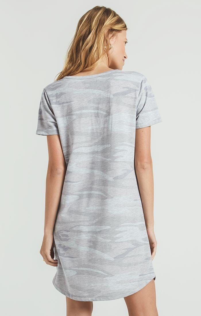 Z-Supply Heather Gray Camo Split Neck Dress