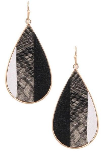 Snakeskin Teardrop Earrings