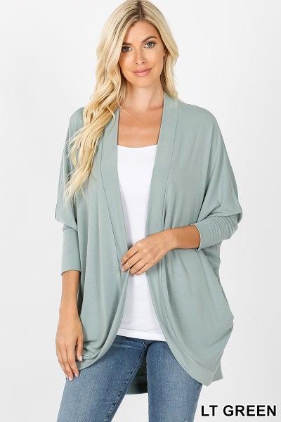 Zenana 3/4 Sleeve Cocoon Wrap Cardigan